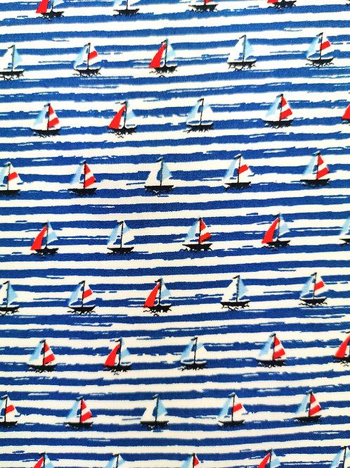 Popeline Bateau sur l'Eau Textile Couleur Océan