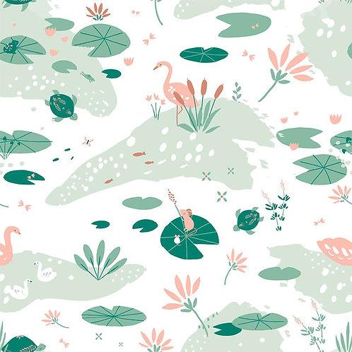 Jersey Design Étang sur Tissu Blanc