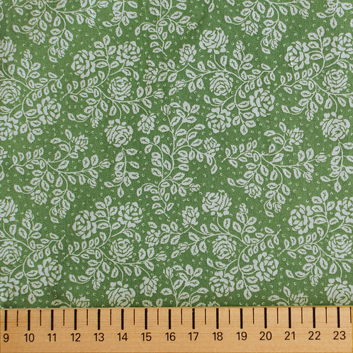 tissus matières la popeline verte design roses vintage aay e-commerce à Kerlouan en France