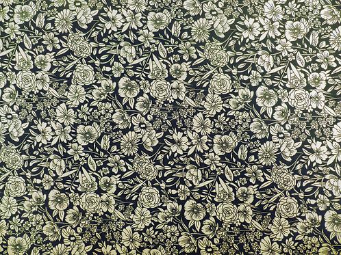Popeline coton Fleurs ivoires sur fond noir