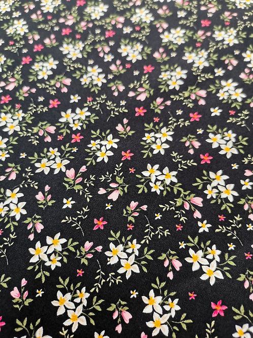 Popeline de coton Petites fleurs sur fond noir