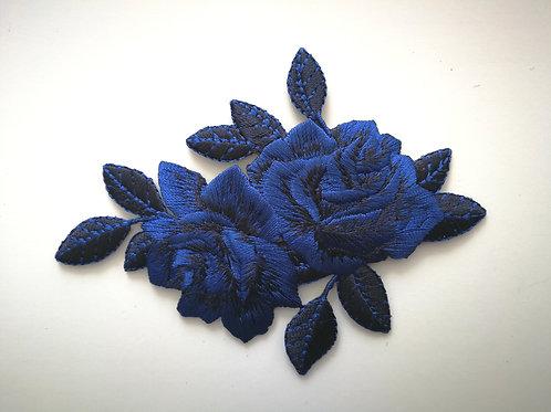 Écusson thermocollant Duo de rose Bleu