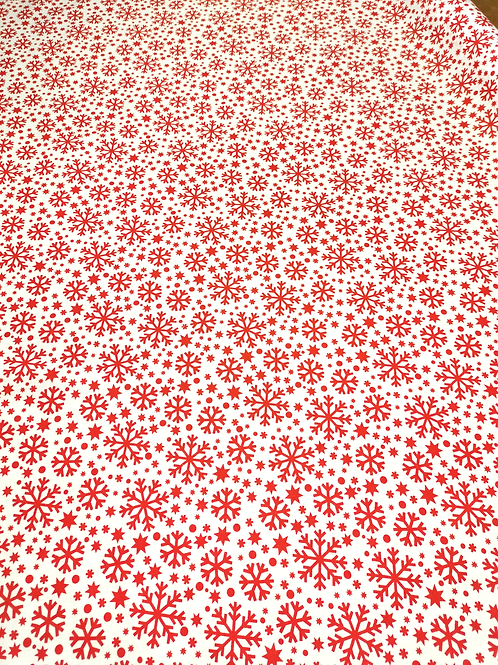 Coton Flocons de Neige Rouge sur Fond Blanc