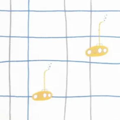 popeline-tissu-sous-marin-jaune-sur-textile-quadrillé-fond-blanc-1-en-vente-aux-ateliers-dyvonne-a-kerluoan