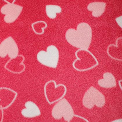 tissu polaire rose imprimé coeur vente de tissus aux ateliers d'yvonne à kerlouan en France