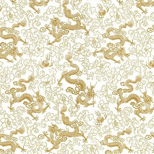 Popeline Tissu Dragon Chinois Or sur Textile Ivoire
