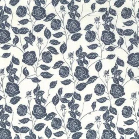 Popeline Tissu Rose Grise sur Textile Ivoire