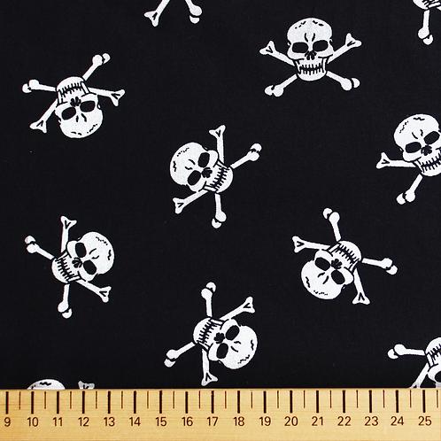 tissus matières popeline noire pirate AAY e-commerce à Kerlouan en France