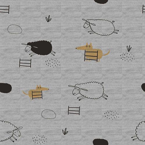 Sweat Moutons sur Fond gris chiné