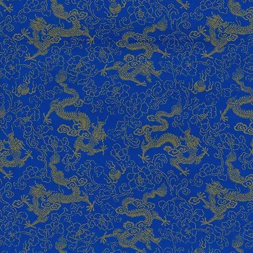 Popeline tissu Dragon Chinois Or sur Textile Bleu Marine Pétillant