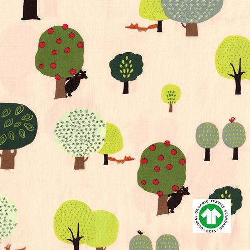 Popeline fine Bio Tissus GOTS Forêt Textile Beige