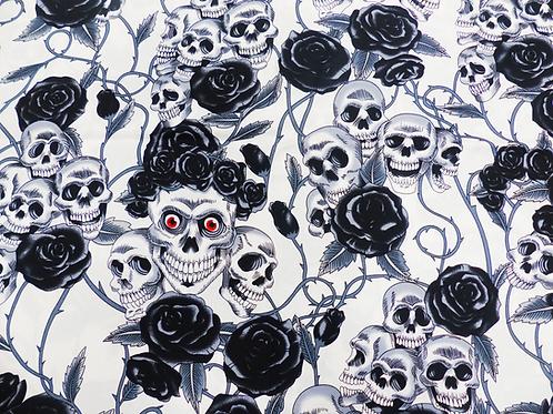 Popeline De Coton Têtes de Morts Couronnes Fleurs