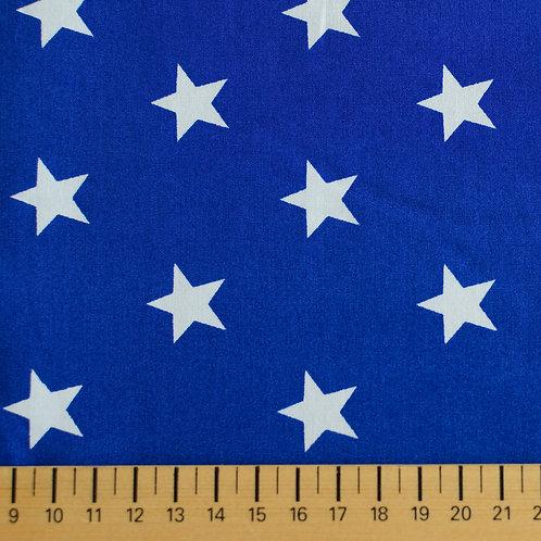 tissus matières popeline bleu royal étoiles blanches AAY e-commerce à Kerlouan en France