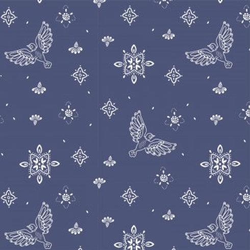 Tissu Chambray oiseaux Tulum