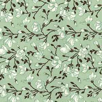 tissus matières la popeline menthe fleurs iris AAY e-commerce à Kerlouan en France