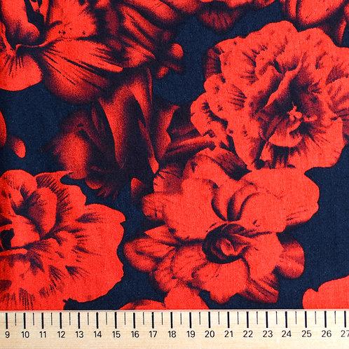 Viscose Roses Rouges sur Fond Noir