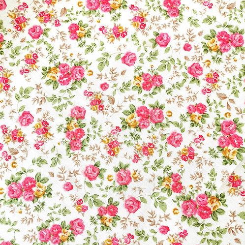 Popeline de coton design fleurs roses et jaune