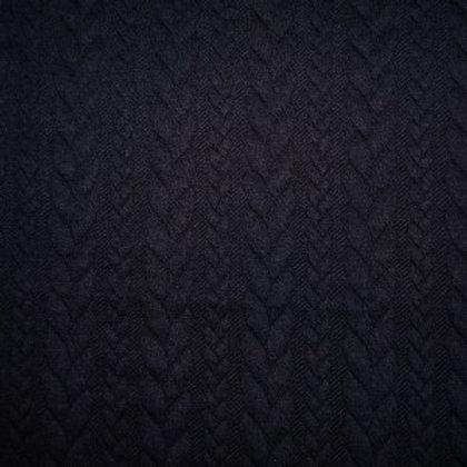 Jersey matelassé torsadé bleu nuit