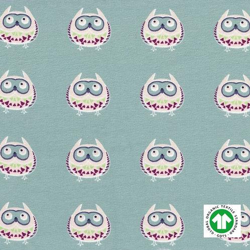 Jersey Bio GOTS Tissu Vert Design Chouettes
