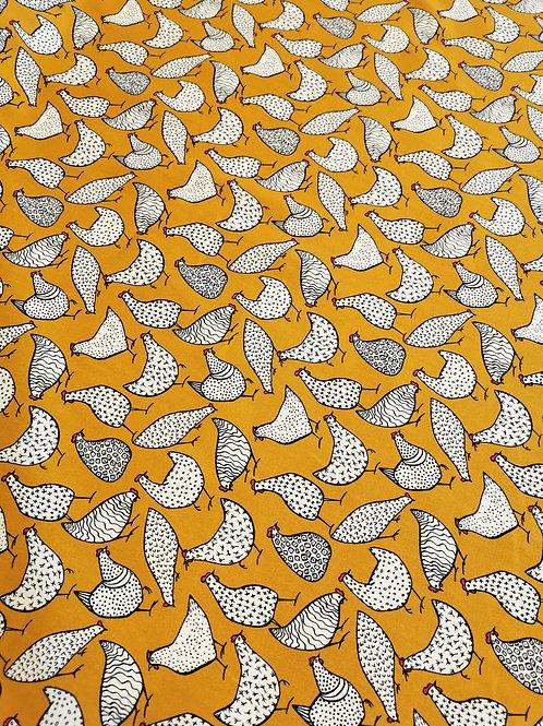 Popeline Tissu Poule sur Textile Jaune Moutarde