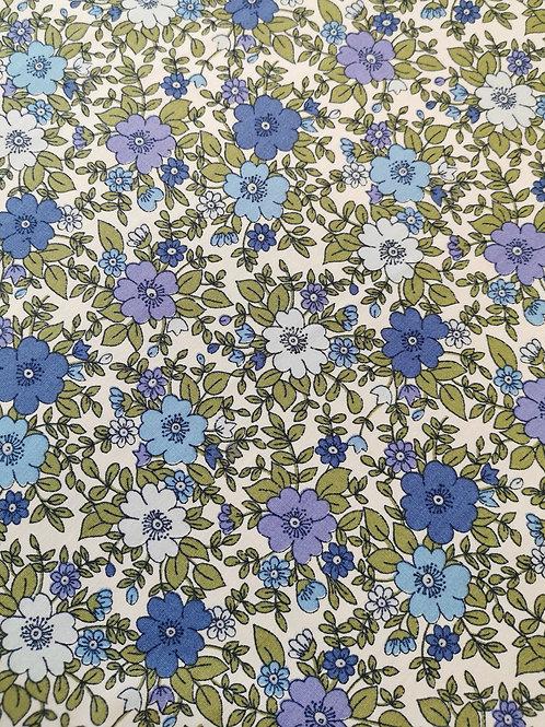 Popeline Bleu Fleurs Pensée