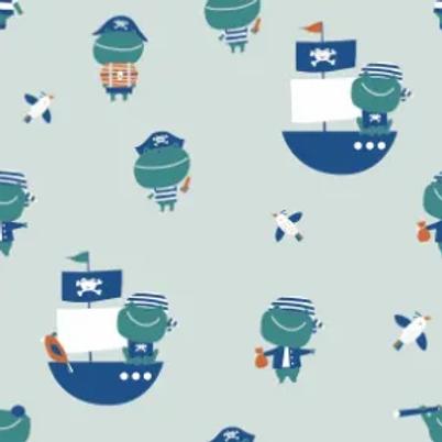 jersey-matière-grenouilles-pirates-sur-tissu-bleu-en-vente-aux-ateliers-dyvonne-a-kerlouan