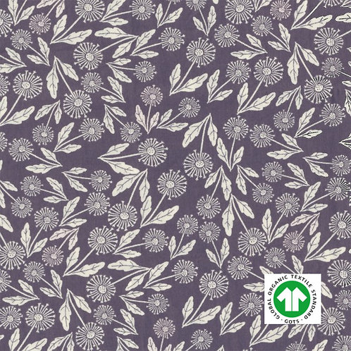 Popeline fine Bio Tissus GOTS Fleurs Textile Lilas