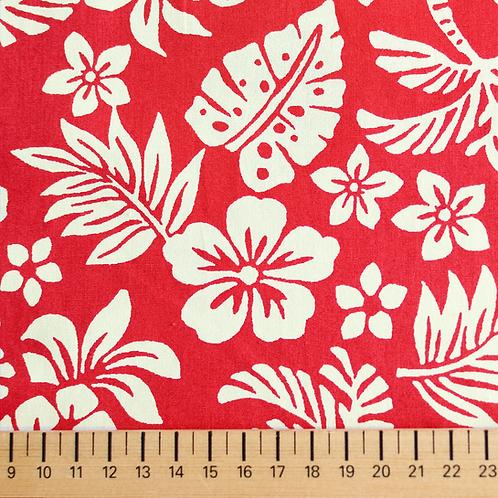 tissus matières tissu popeline rouge design tahiti AAY e-commerce à Kerlouan en France