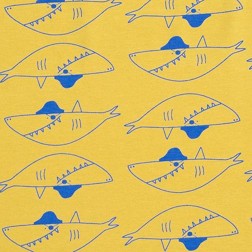 Jersey imprimé requin sur tissu jaune