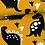 jersey-matiere-dinosaure-noir-sur-tissu-moutarde-zoom-tissu-en-vente-aux-ateliers-dyvonne-a-kerlouan