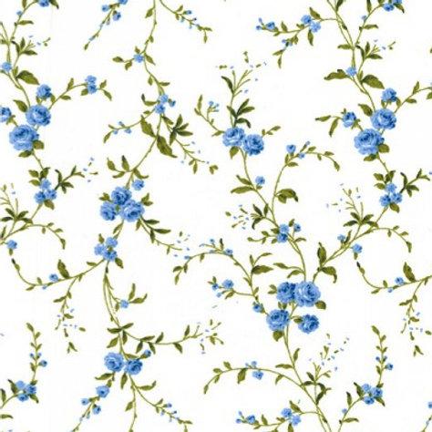 Coton popeline fleurs bleues sur tissu blanc