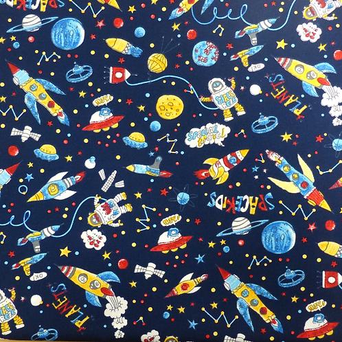 Popeline Dans l'espace Tissu Bleu Nuit