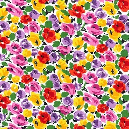 Popeline Tissu Fleurs Printemps Multi couleurs sur Textile Blanc Code