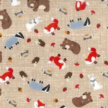 Popeline Tissu Animaux de la Forêt sur Textile Noisette