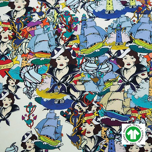 Jersey Bio GOTS Tissu Bleu Design Femme de la Mer