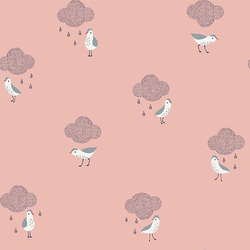 Coton enduit Oiseaux sous nuages de pluie