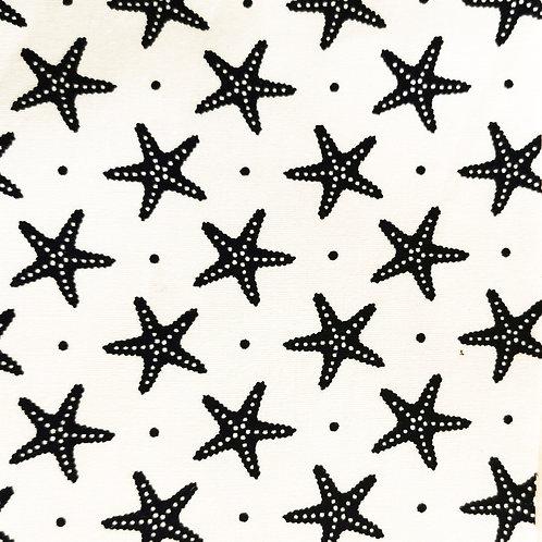 Popeline Tissu Étoile de Mer Bleu Marine sur Textile Blanc