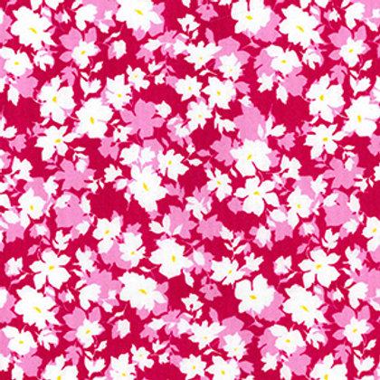 tissus matière tissu popeline cerise fleurs de printemps aay e-commerce à Kerlouan en France