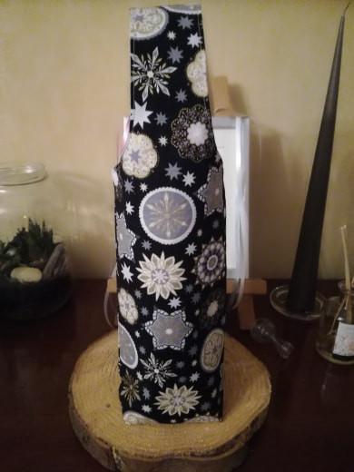 1 - sylvie - porte bouteille tissus noel