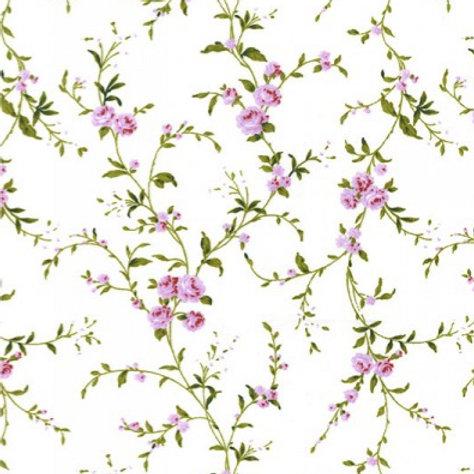 Coton popeline fleurs mauves sur tissu blanc cassé