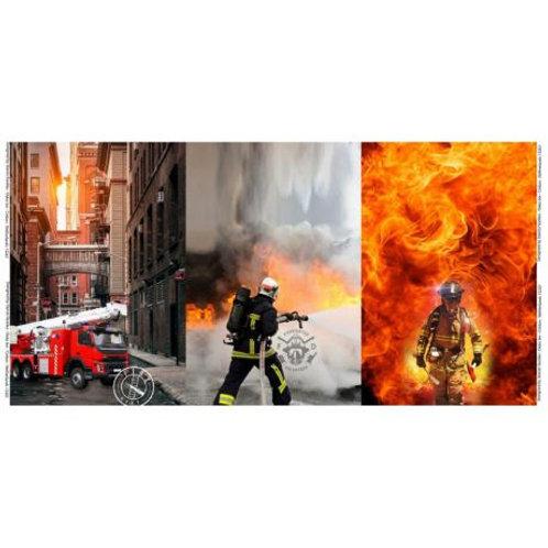 Panneau tissu jersey imprimé pompiers