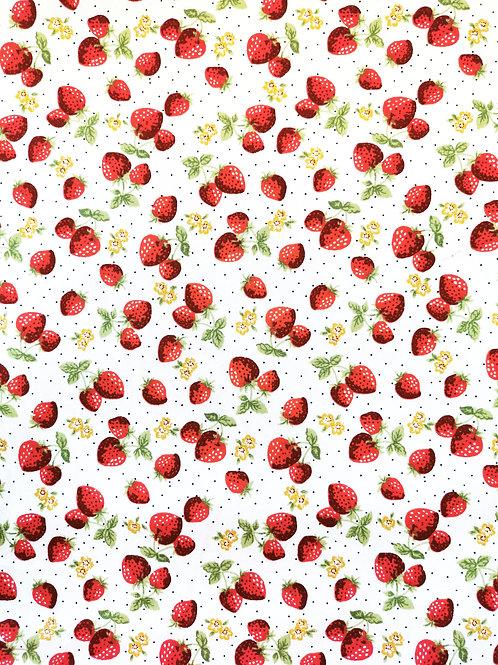 Popeline Fraise Rouge sur Tissu Blanc