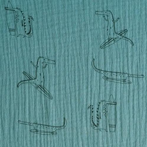 tissu-mousseline-crocodile-sur-tissu-vert-en-vente-aux-ateliers-dyvonne-a-brest