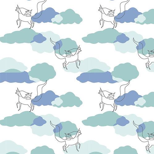 Tissu Mousseline Blanc Licornes volant dans les nuages