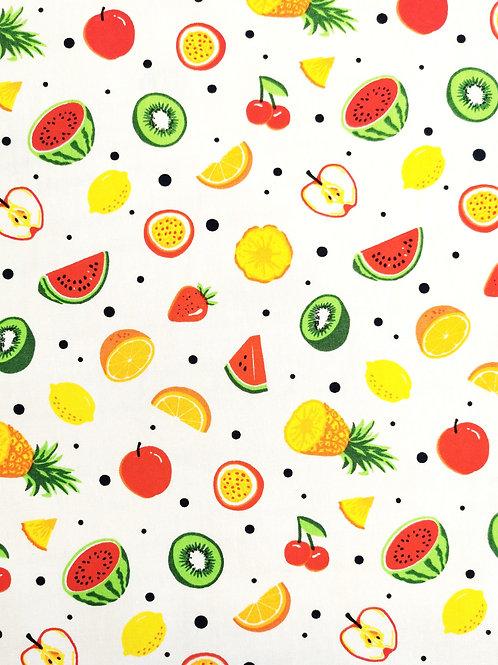 Popeline mélange de fruits sur Tissu Blanc
