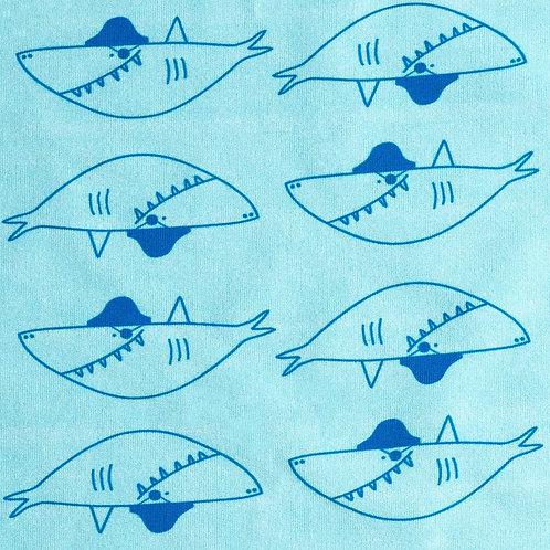 Sweat Pirates Requins sur Textile turquoise