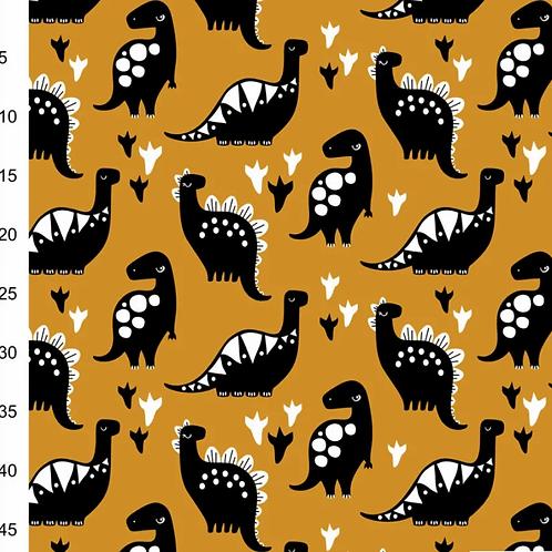 jersey-matiere-dinosaure-noir-sur-tissu-moutarde-tissu-en-vente-aux-ateliers-dyvonne-a-kerlouan