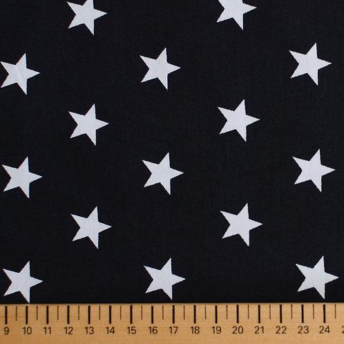 Tissus Matières popeline noir et étoiles blanches AAY e-commerce à Kerlouan en France