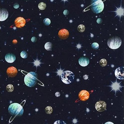 Sweat Espace et Planètes sur Textile Bleu Nuit