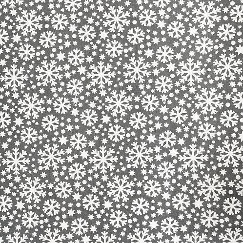 Coton Flocons de Neige Blancs sur Fond Gris
